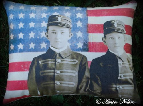 4th of July primitive antique civil soldier boy costume flag pillow party decor
