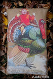 Thanksgiving day antique boy riding Gurley style turkey vintage look pillow