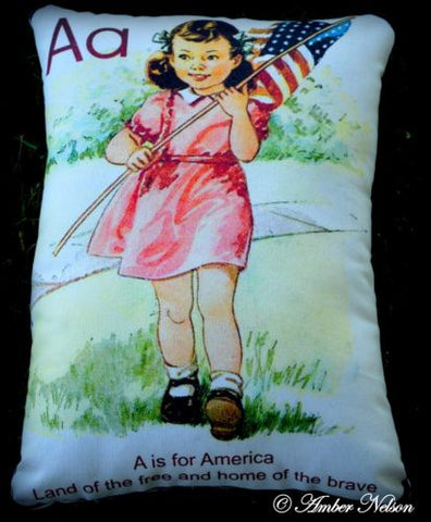 4th of July A is for America Land of the free pillow vintage