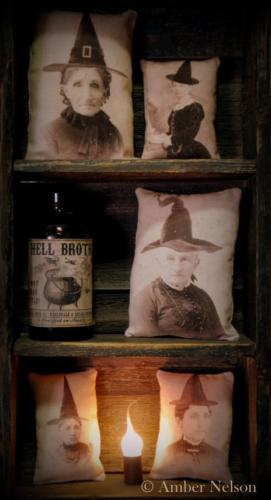Halloween Witches old photo witch antique cupboard tucks small pillows props