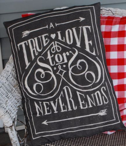 Valentines day A true love story never ends script pillow gift chalkboard look
