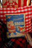 Vintage Antique Christmas mica snow box advertisement pillow fire proof Santa