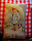 Let it snow antique vintage girl umbrella Christmas puppy winter pillow dog gift