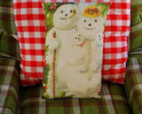 Darling boy girl baby babies twins snowman family throw pillow Christmas gift