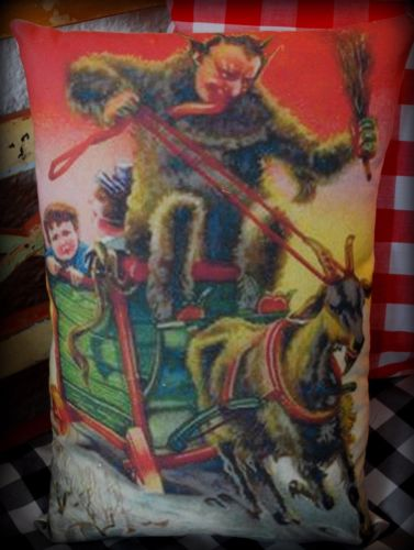 Christmas antique German Krampus riding goat cart bad child Santa Claus pillow
