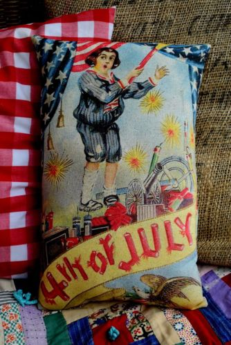 4th of July antique postcard pillow firecracker flag American