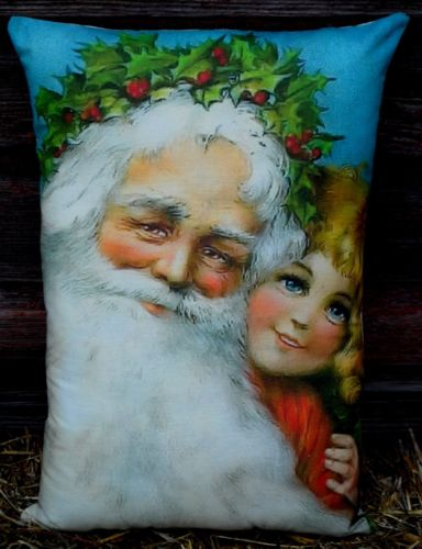 Old world Santa Claus girl colorful beautiful antique pillow Christmas smiling