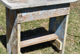 Primitive Antique farmhouse old blue paint cricket jack leg bench stool shelf
