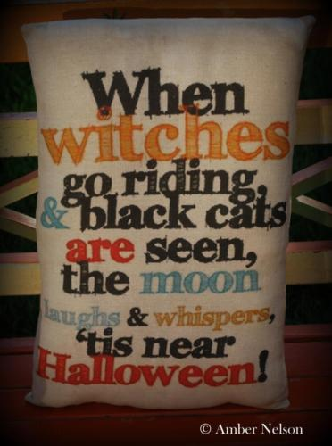 When witches go riding Halloween sign saying poem pillow vintage postcard old