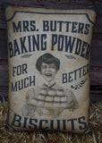 Primitive antique farmhouse label baking powder biscuits sack bag pillow old