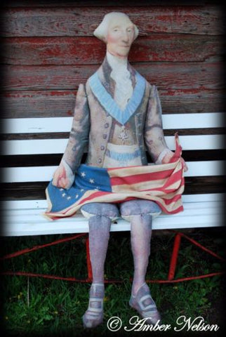 6FT Primitive antique George Washington Flag door wreath chair doll 4th of July