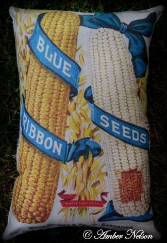 Blue ribbon harvest corn pillow fall porch decor pumpkin potting bench sign
