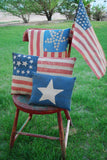 Patriotic 4th of July farmers market enamelware flag rooster pillow primitive