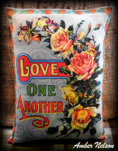 Antique Love One Another Valentines day gift cabbage roses floral bright sign