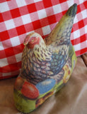 Primitive Easter Farmhouse Hen chicks egg nest stand up pillow Colorful farm