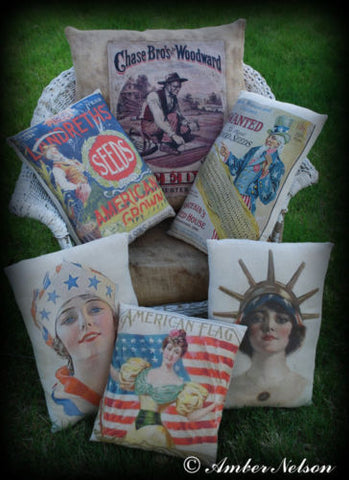 Patriotic 4th of July Uncle Sam flag American Pillow antique vintage old costume