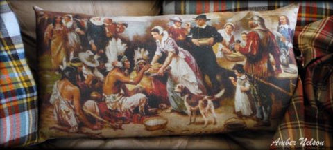 XXL primitive colonial bench bed antique scene Thanksgiving day pilgrims dinner