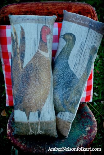 Thanksgiving hunting cabin pheasant grouse primitive rustic pillow set fall