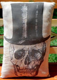 Halloween old west skeleton top hat steampunk pillow black white party prop