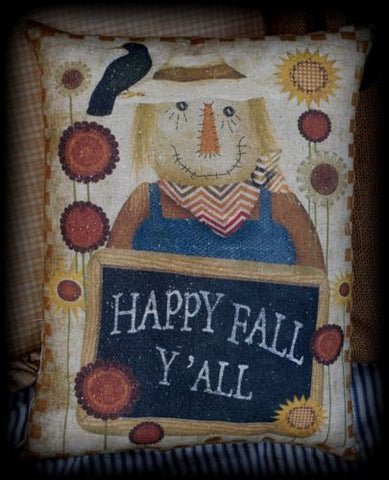 Primitive country scarecrow harvest Happy Fall Y'all pillow sign crow sunflower