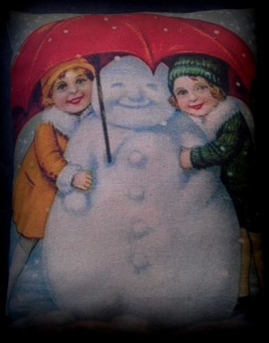 Christmas antique winter girls under umbrella snow snowman pillow victorian old