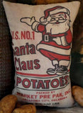 Christmas kitchen sack bag pillow Santa Claus potatoes buttery decor fake food