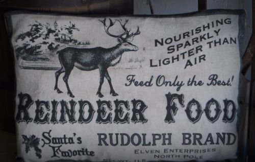 Christmas Santa claus reindeer food advertisement north pole pillow rudolph sign
