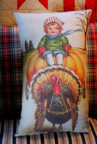 vintage Girl riding pumpkin Turkey cart Thanksgiving dinner decor winter DARLING