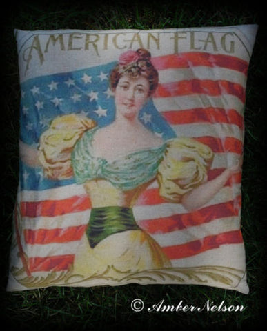 4TH OF JULY American flag Victorian lady independence day
