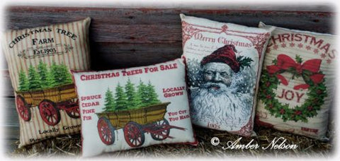Old 1905 primitive belsnickle Santa Claus Merry Christmas pillow antique sign