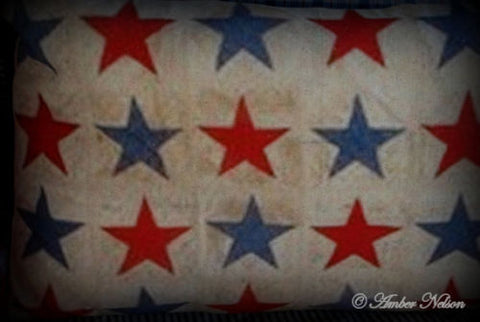 Patriotic 4th of July Huge star bolster bench pillow red white blue primitive