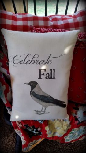 Primitive country black bird crow CELEBRATE FALL sign pillow harvest farmhouse