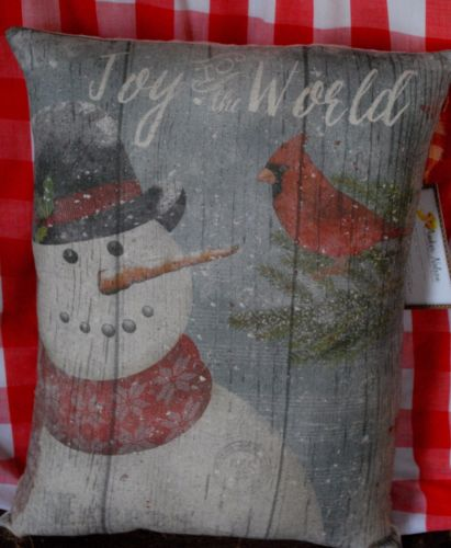 primitive wood snowman joy to the world Christmas pillow cardinal winter throw