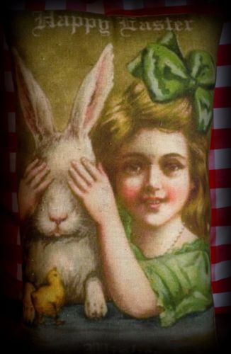 Easter antique vintage Mrs Bunny Rabbit peek a boo girl pillow primitive chick