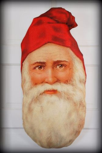 HUGE primitive Christmas Old world santa claus belsnickle door hanger pillow