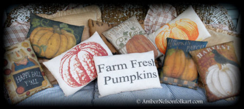Harvest Pumpkins farm fresh fall Halloween porch bench pillow decor primitive