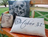 Halloween October 31st sign script pillow black white party prop welcome porch