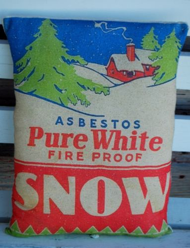 Vintage Antique Christmas mica snow box advertisement pillow sign cabin putz