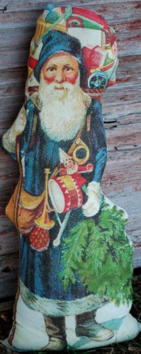 Dark Blue primitive Christmas Santa Claus Belsnickle standing pencil doll tree