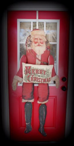 HUGE 5 FOOT old Primitive Vintage Santa Claus doll Door wreath wall hanger sign