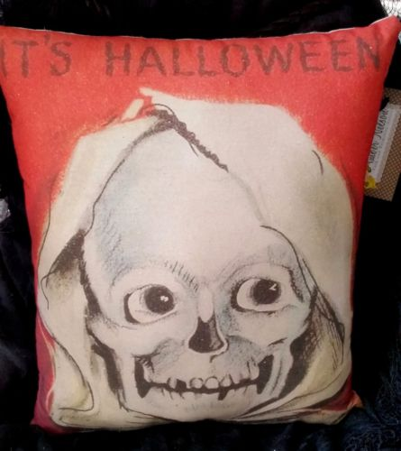 Vintage Halloween smiling Skeleton Skull decoration pillow old primitive antique