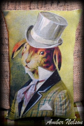 Antique Victorian Bunny Rabbit in top hat portrait pillow Easter Spring Vintage