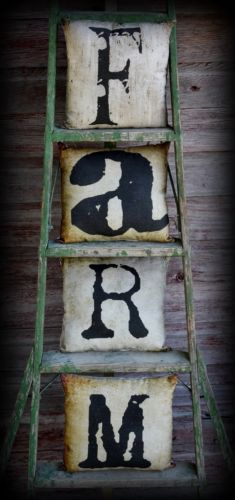 Rustic Primitive Farm Farmhouse Letter Sign Pillow Set Cupboard Tuck Shelf decor