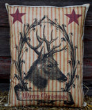 Merry Christmas ticking old star reindeer deer red grain sack pillow primitive