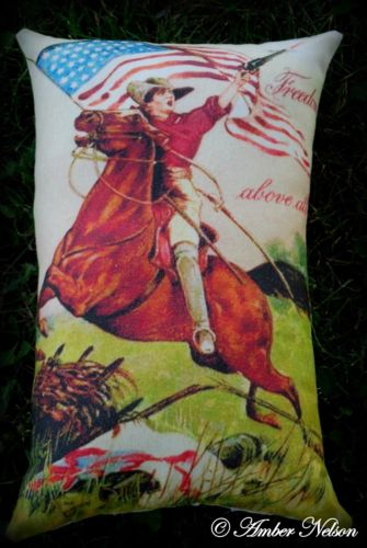 4th of July Freedom above all Western horse war flag pillow