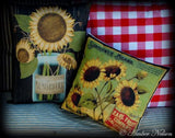 Darling fall harvest sunflower in mason canning jar pillow country farmhouse