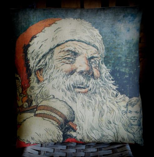 Christmas Santa Claus night before antique book cover art pillow victorian old