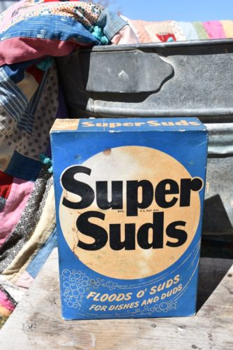 Vintage Primitive Antique Super Suds laundry detergent box shelf decor washroom