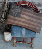 patriotic American 4th of July early antique dirty flag grungy star primitive
