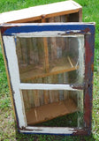 Primitive old antique red white blue paint cupboard shelf barn wood window farm